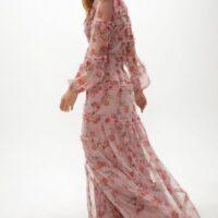 Coast Long Sleeve Cross Ruffle Detail Maxi Dress Pink Blush Multi