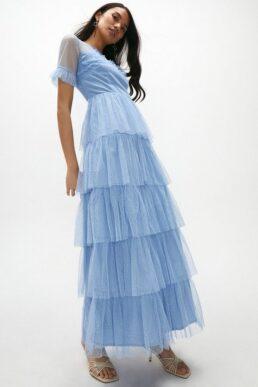 Coast Ruffle Tier Skirt Short Sleeve Maxi Dress Light Blue