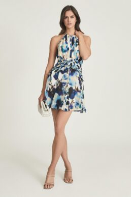 Reiss Belle printed ruffle mini dress Blue Multi
