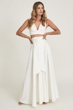 Reiss Gigi gather detailed maxi skirt White Cream
