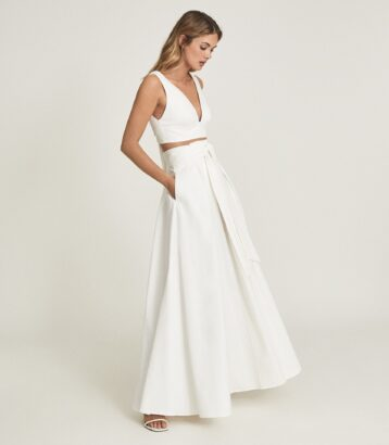 Reiss Tammi crop top with bow detail White