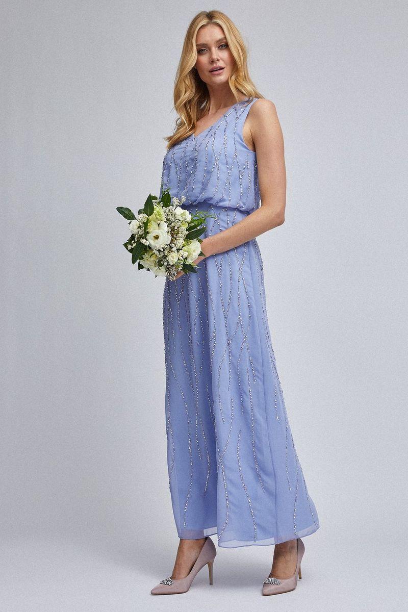 Dorothy Perkins Cornflower Morgan Maxi Dress