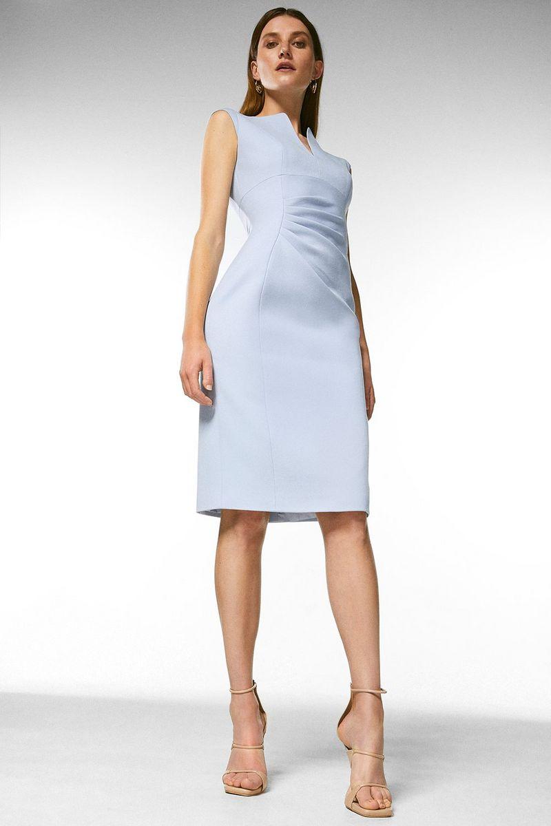 KarenMillen Structured Crepe Envelope Neck Pencil Dress