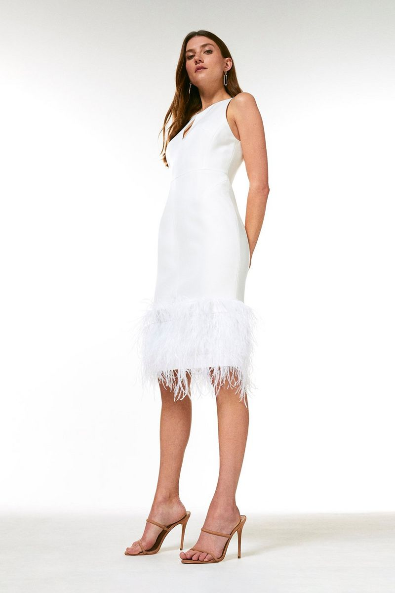 KarenMillen Structured Crepe Feather Hem Dress £164.25