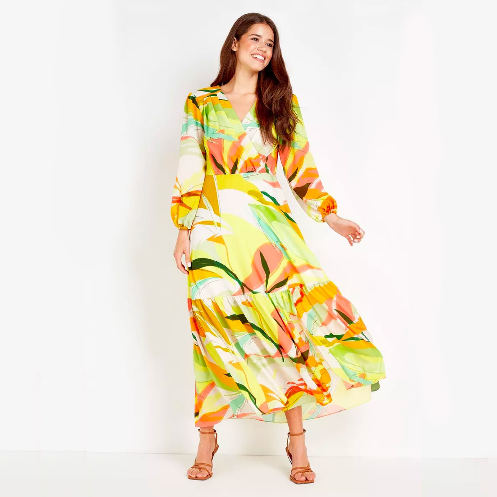 Wallis Lime Abstract Tiered Maxi Dress, was £95 > now £71.25