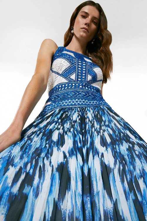 Geo Guipure Lace Printed Pleat Midi Dress
