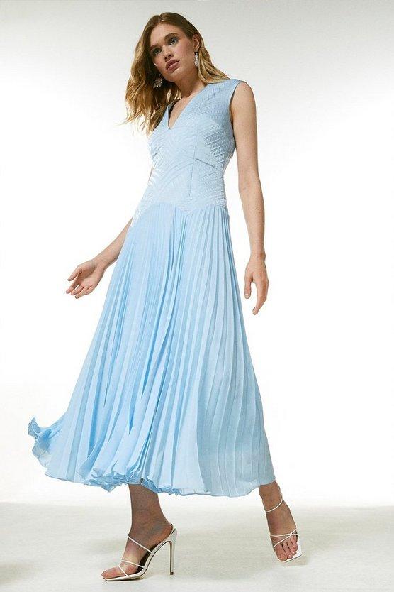 Quilt Satin And Pleat Deep V Midi Dress