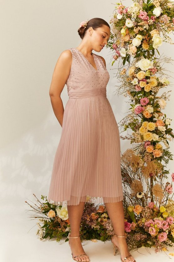 Curve V Neck Pleated Skirt Sequin Midi Dress