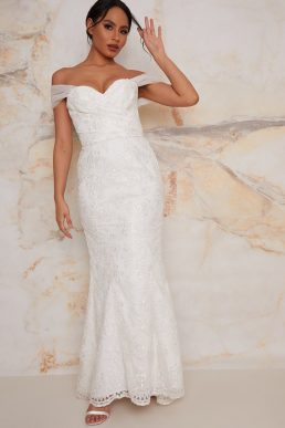 Chi Chi Lace Sweet Heart Wedding Dress with Train in White