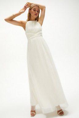 Coast All Over Pleated Maxi Dress Ivory