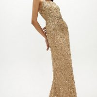 Coast All Over Sequin Cross Over Back Maxi Dress Gold