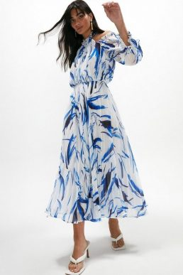 Coast Cold Shoulder Pleated Midaxi Dress Blue White