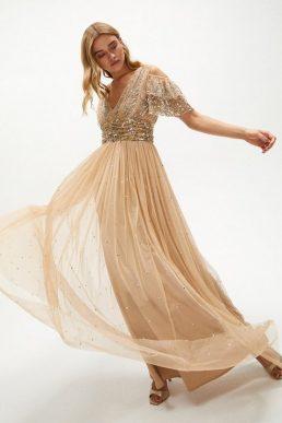 Coast Cold Shoulder Scattered Embellished Maxi Dress Gold