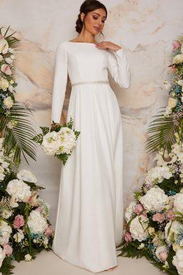 Coast Long Sleeve Bridal Wedding Dress with Embellishment in White