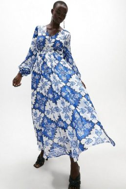 Coast Long Sleeve Shirred Waist Maxi Dress Blue White