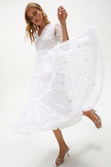 Coast Long Sleeve Tier Detail Embellished Dress Ivory