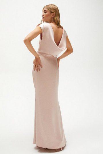 Coast Premium Ruffle Skirt Cowl Back Maxi Dress Light Pink Blush