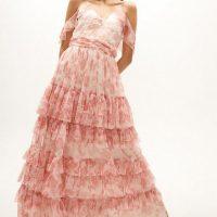 Coast Printed Mesh Tiered Maxi Dress Blush Ivory