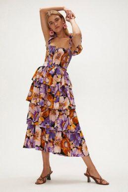 Coast Printed Tiered Midi Dress Purple Multi