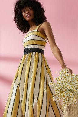 Coast Stripe Poplin Sun Dress Yellow Black Ivory