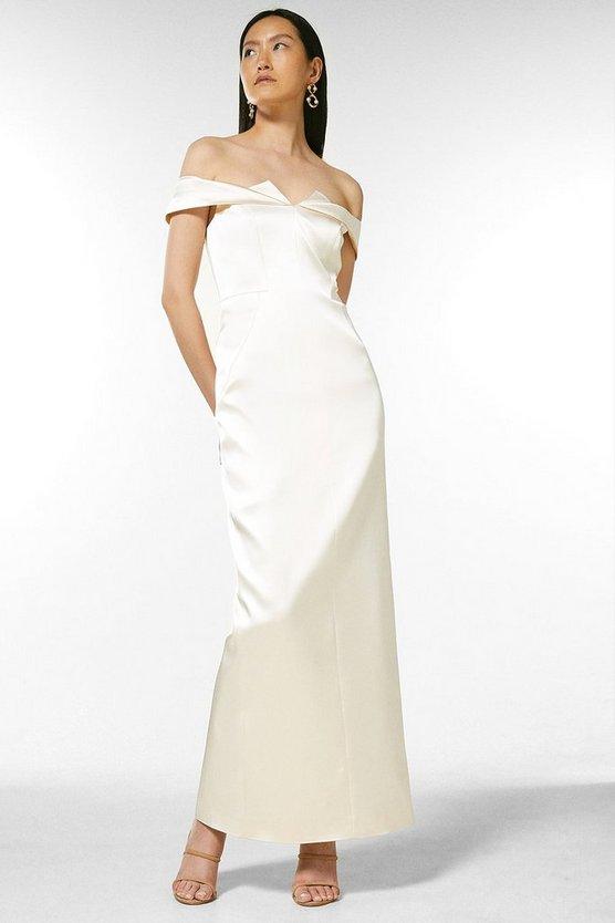 Italian Structured Satin Bardot Maxi Dress