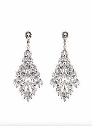 Jon Richard Rhodium Crystal Statement Drop Earrings