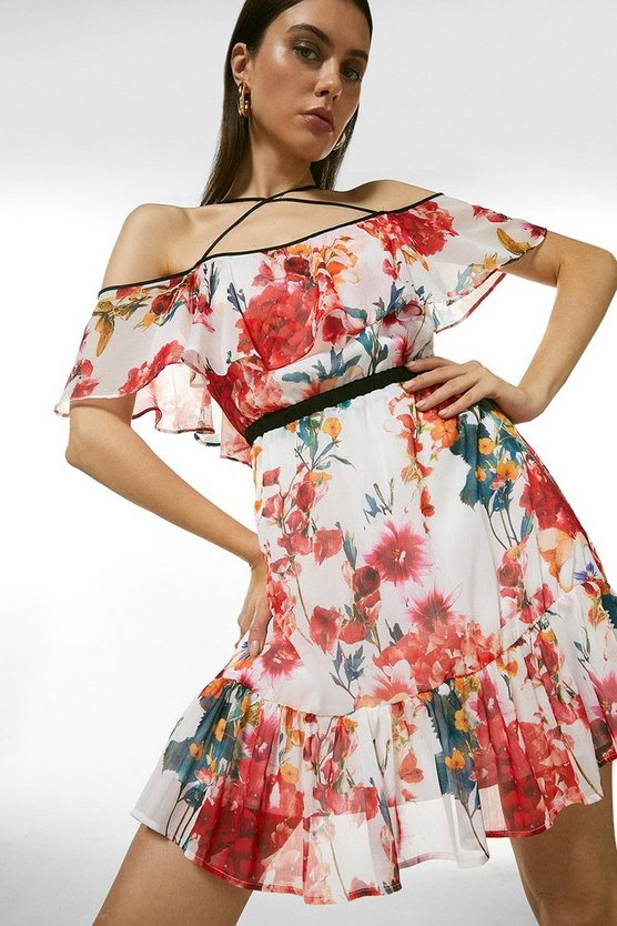Watercolour Floral Strappy Short Dress