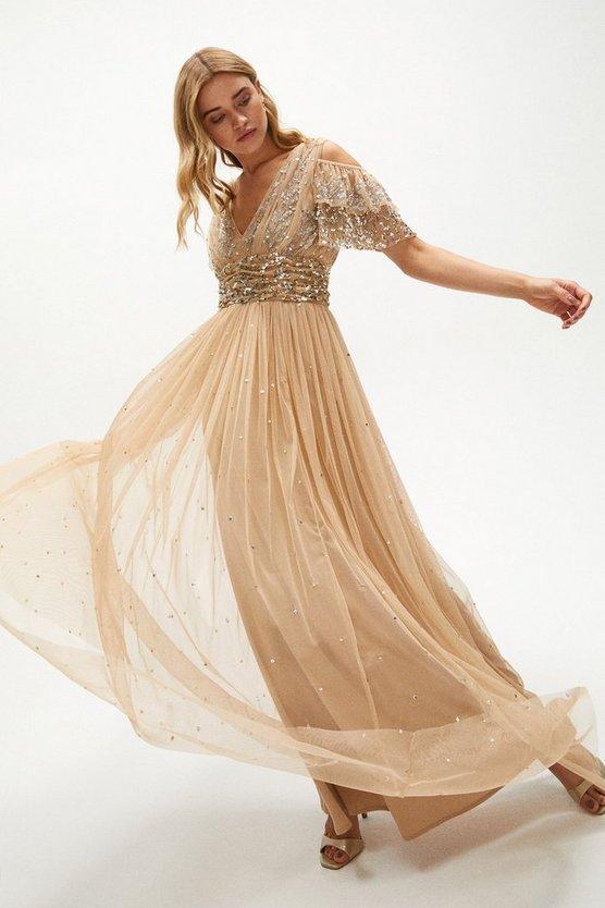 Cold Shoulder Scattered Embellished Maxi Dress