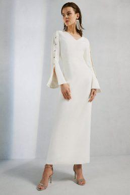 Karen Millen Button Detail Column Maxi Gown Ivory