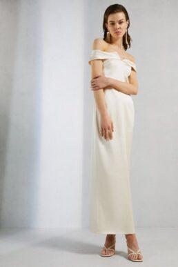 Karen Millen Italian Structured Satin Bardot Maxi Dress Cream