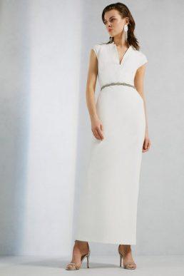 Karen Millen Structured Crepe Forever Maxi Dress Ivory