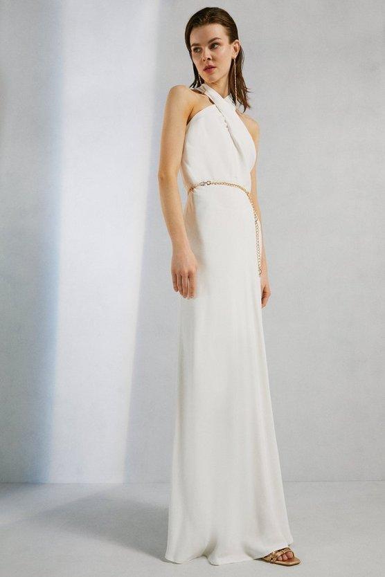Karen Millen Viscose Crepe Satin Halter Neck Maxi Dress Ivory