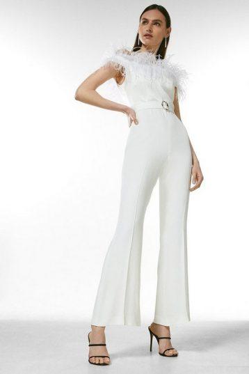 Karen Millen Viscose Satin Crepe Feather Bandeau Jumpsuit Ivory