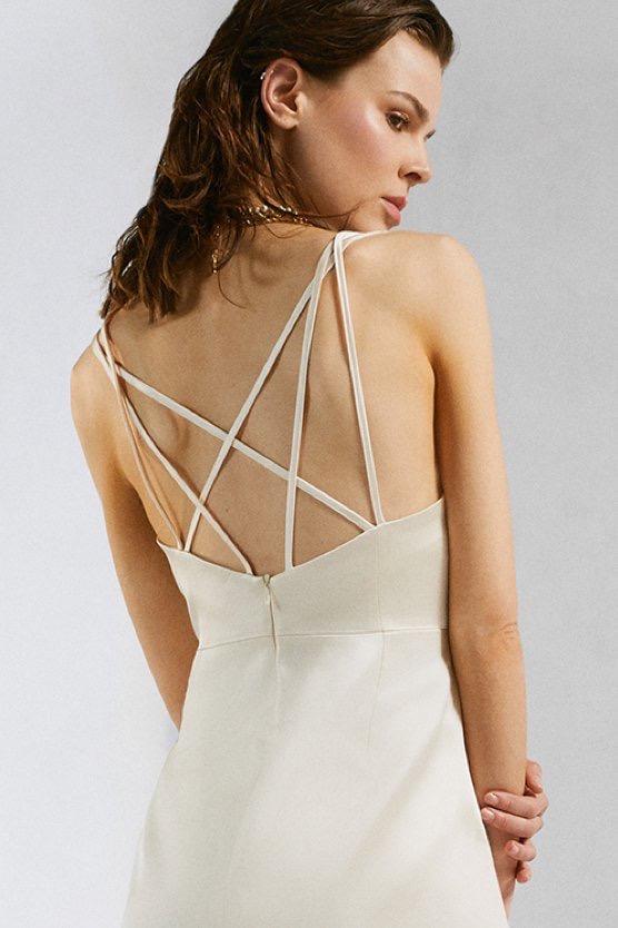 Italian Structured Satin Strappy Pencil Dress