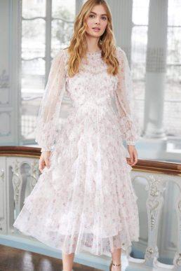 Needle & Thread Bijou Rose Long Sleeve Ballerina Dress Ivory Blush