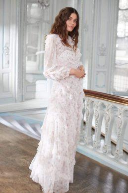 Needle & Thread Bijou Rose Long Sleeve Gown Ivory Multi Blush