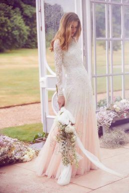 Needle & Thread Pearl Rose Sleeve Bridal Gown Ivory Pink