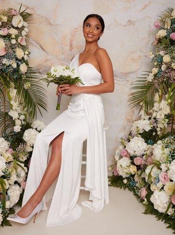 Chi Chi Petite One Shoulder Satin Bridal Wedding Dress in White