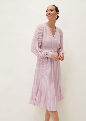 Phase Eight Elsa Pleated Midi Dress Blush Pink