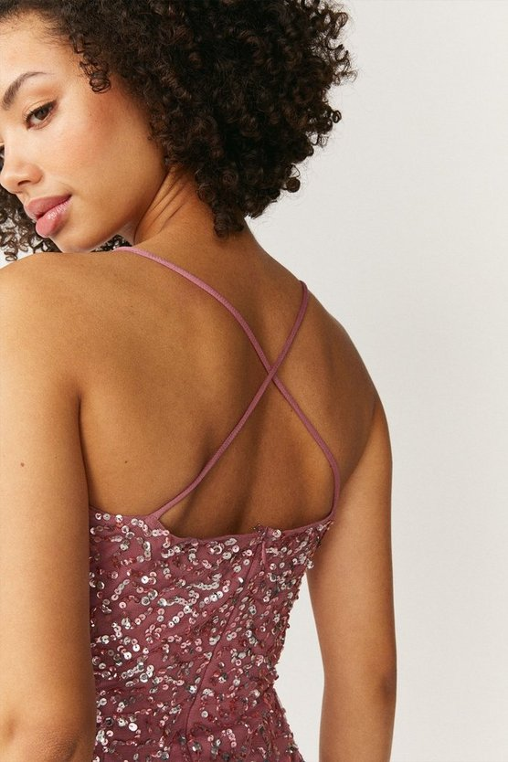 All Over Sequin Cross Over Back Maxi Dress