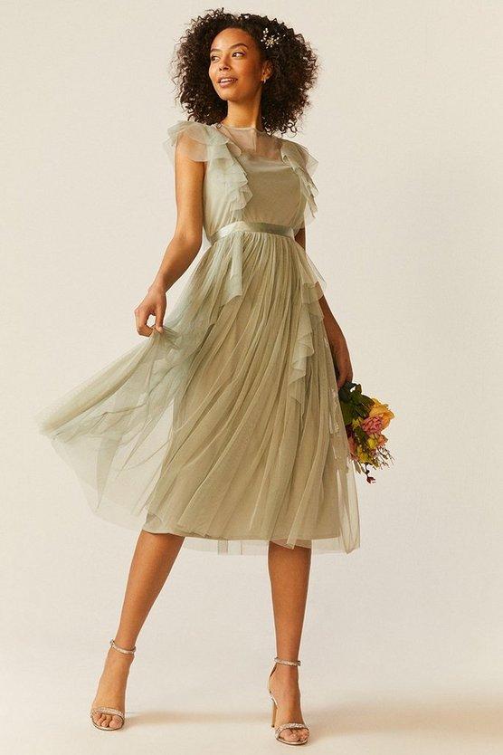 Shoulder Ruffle Mesh Pleated Midi Dress