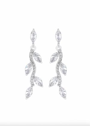 Jon Richard Silver Crystal Leaf Drop Earrings