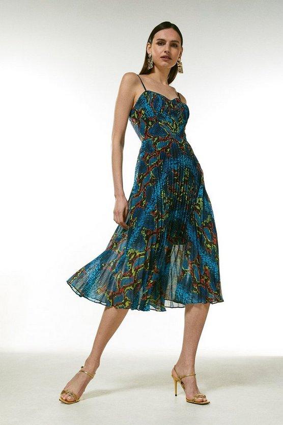Snake Print Pleated Bustier Dress