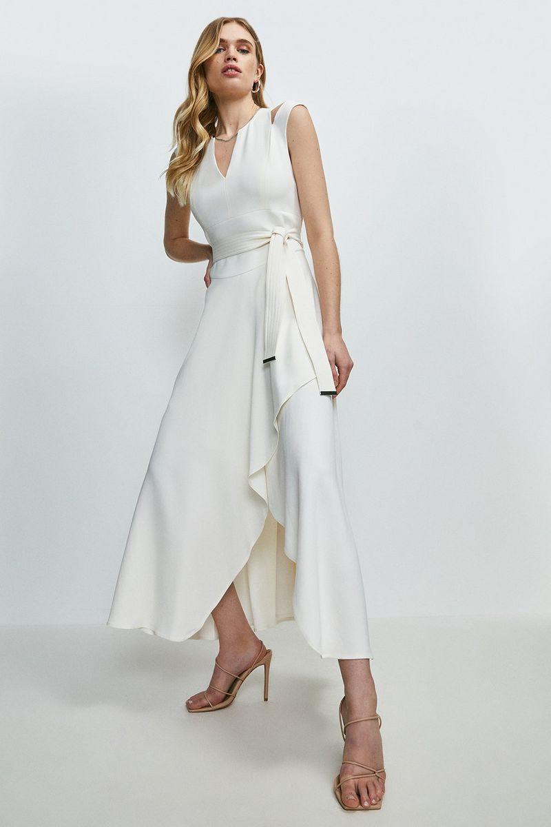 Karen Millen Compact Stretch Viscose Waterfall Dress