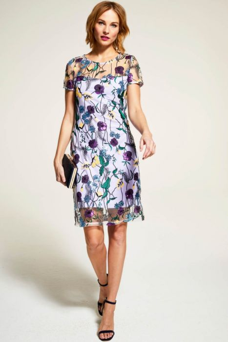 Hot Squash Embroidered Cap Sleeve Party Dress