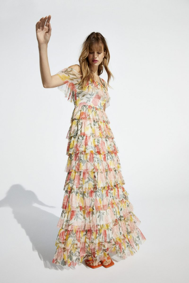 Printed Mesh Tiered Maxi Dress
