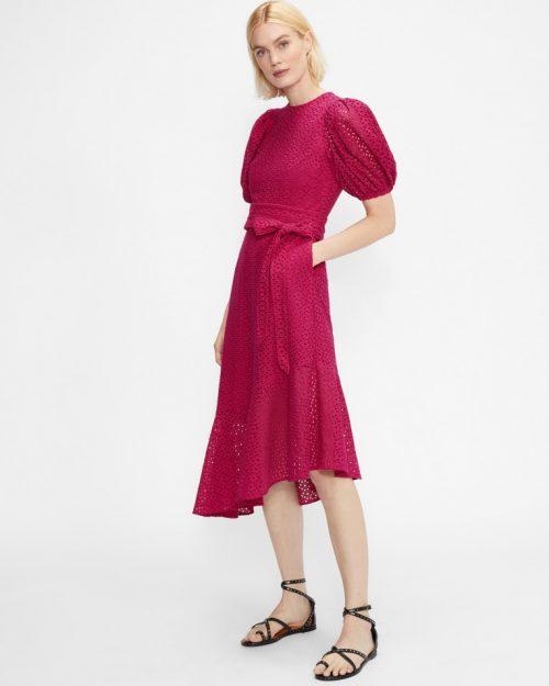 BELLLAA Puff Sleeve Midi Broderie Dress