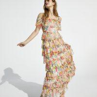 Coast Printed Mesh Tiered Maxi Dress Yellow Multi