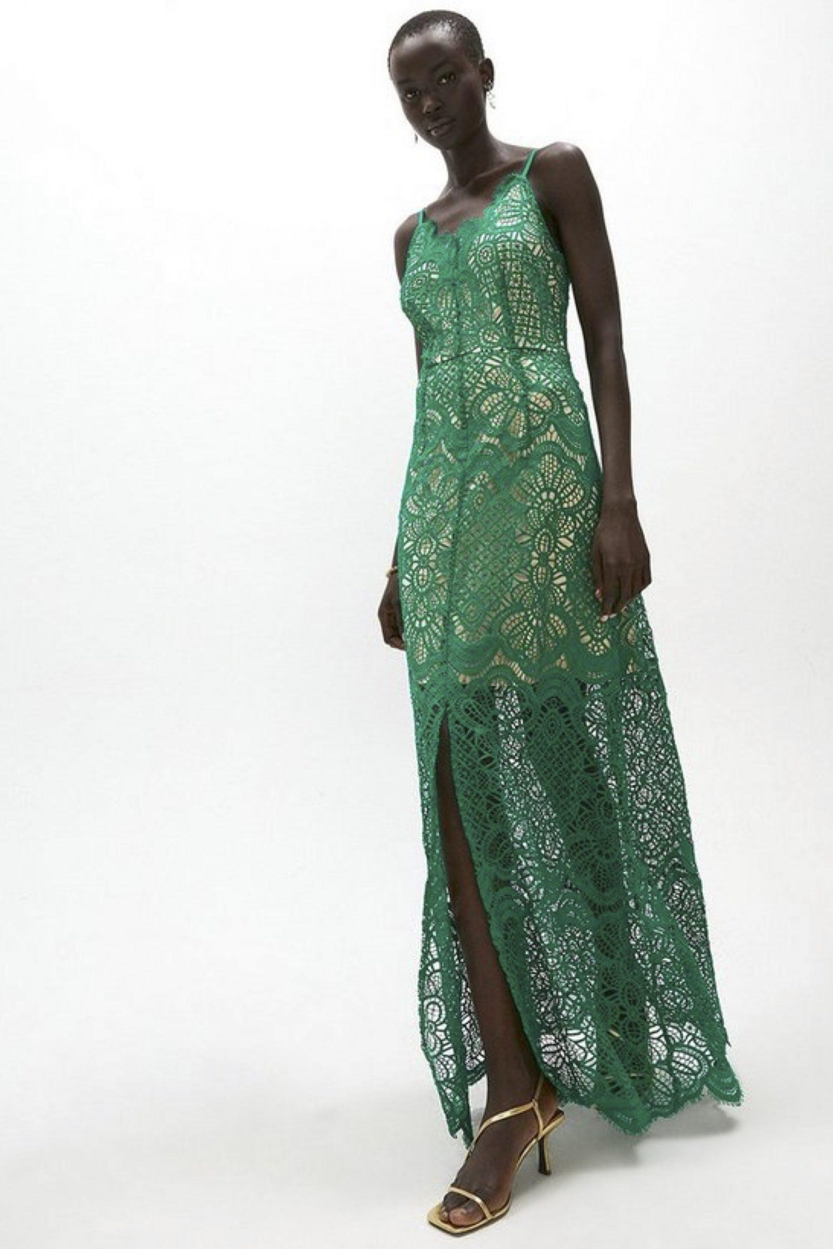 Deco Lace Strappy Midi Dress