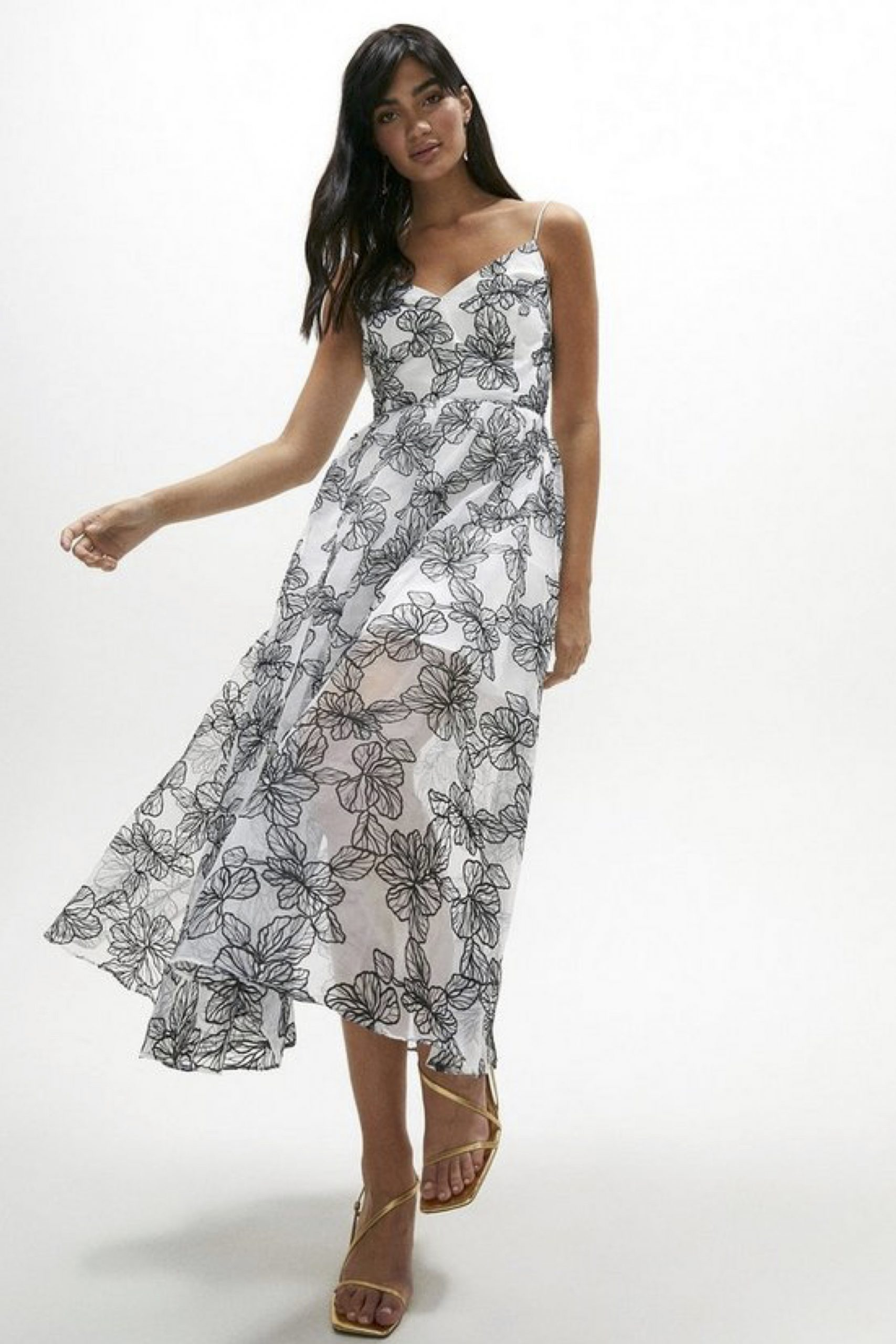 Fleur Embroidered Organza Midi Dress, was £149 > now £111.75